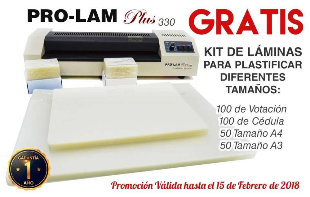 PLASTIFICADORA PROLAM PLUS 330 HASTA TAMAÑO A3