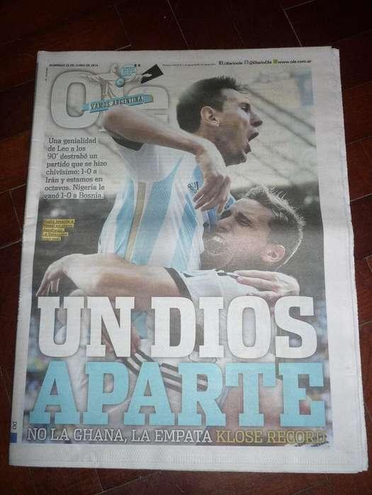 DIARIO OLE ARGENTINA 1 IRAN 0 TAPA MESSI MUNDIAL BRASIL 2014