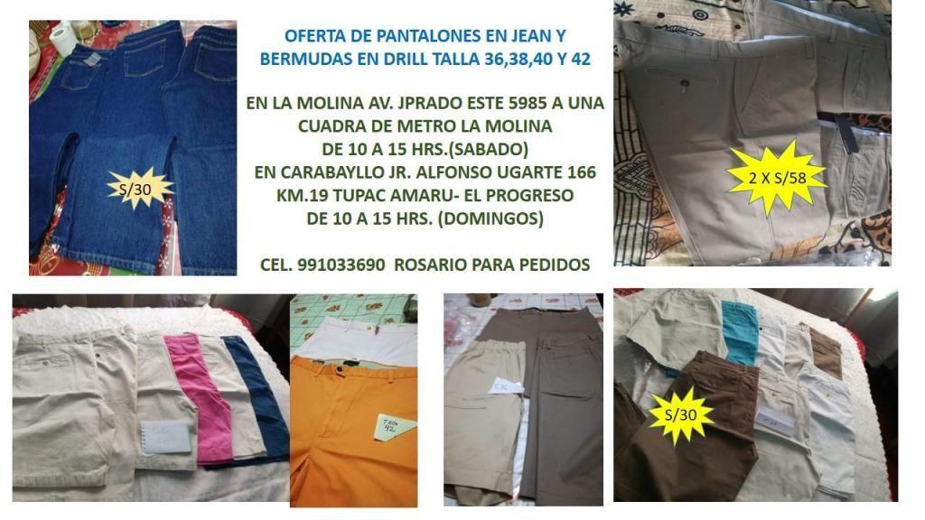 fc09930683 OFERTA DE PANTALONES EN JEANS Y BERMUDAS 2 X 55 SOLES - Lima