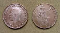 Moneda de 1 penique Gran Bretaña 1918