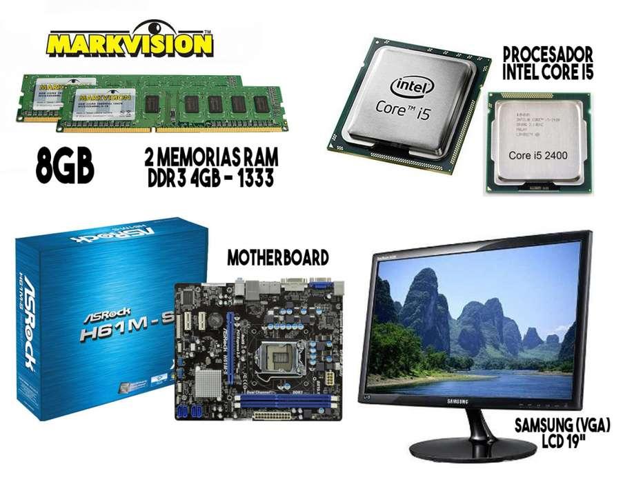 Combo PC (Board 8Gb Ram Procesador Intel Core i5 Monitor 19