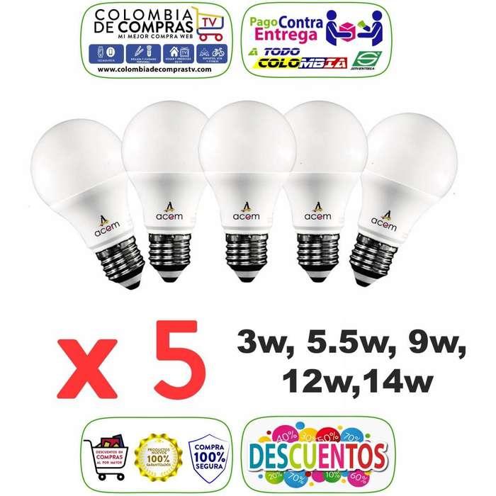 Kits Por 5 Bombillos Ahorradores LED De 9W, 12W o 15 W, Garantía 1 Año, Nuevos, Originales...