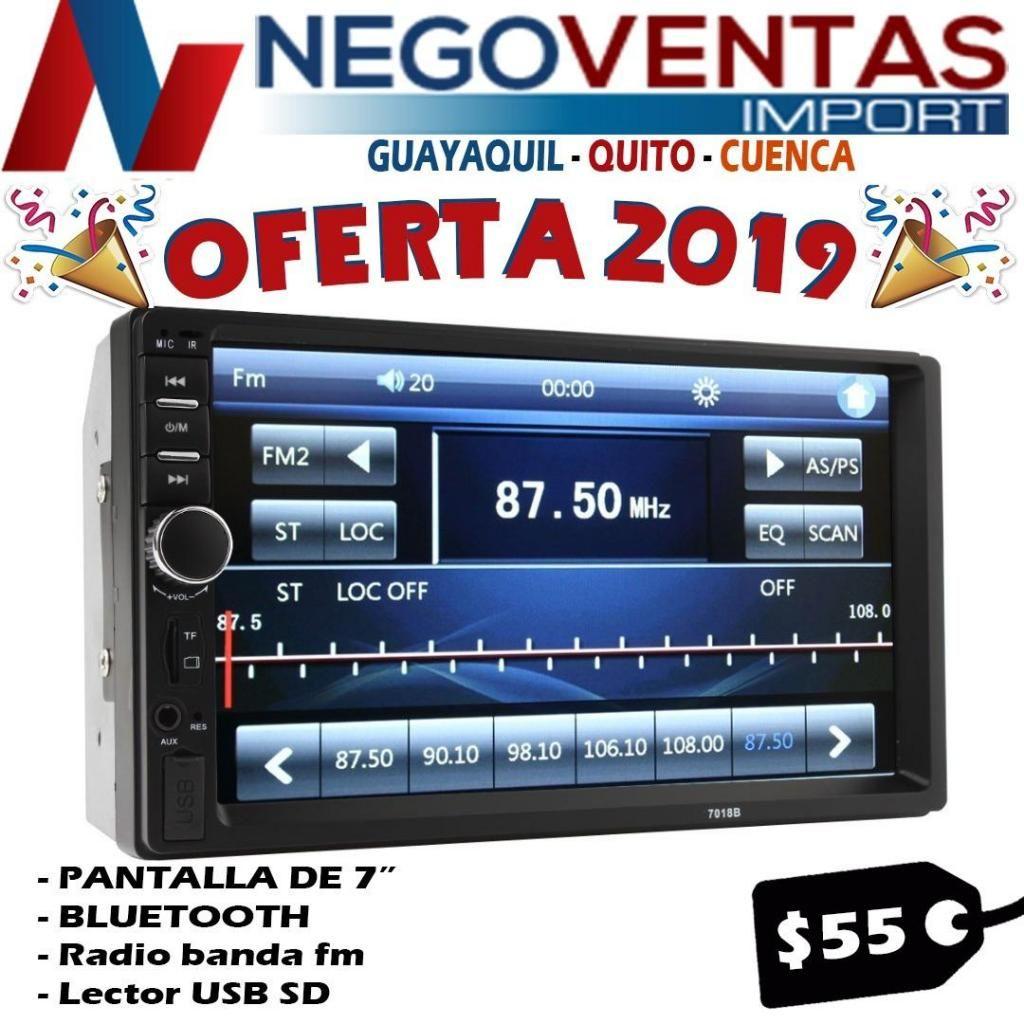 RADIO PARA CARRO DOBLE DIN MP5 USB SD FM AUX BLUETOOTH CON MIRROR LINK PANTALLA DE 7 PULG
