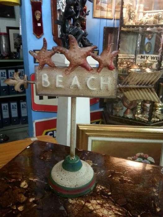 Aviso Metalico De Mesa Beach Importado U.s.a
