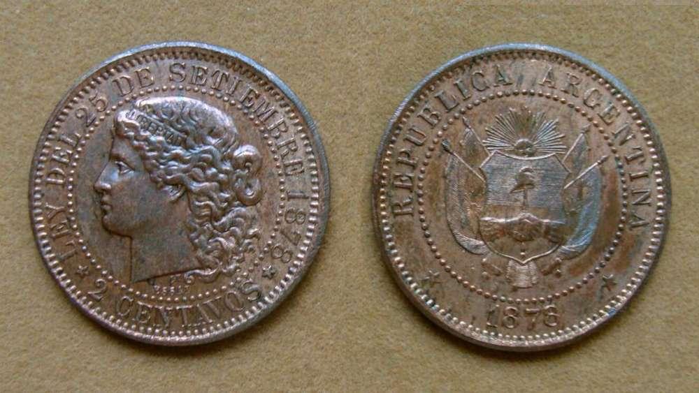 Moneda de 2 centavos Argentina 1878 ENSAYO