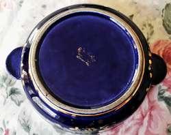 Bombonera Antigua De Porcelana Esmaltada Dorada Sellada