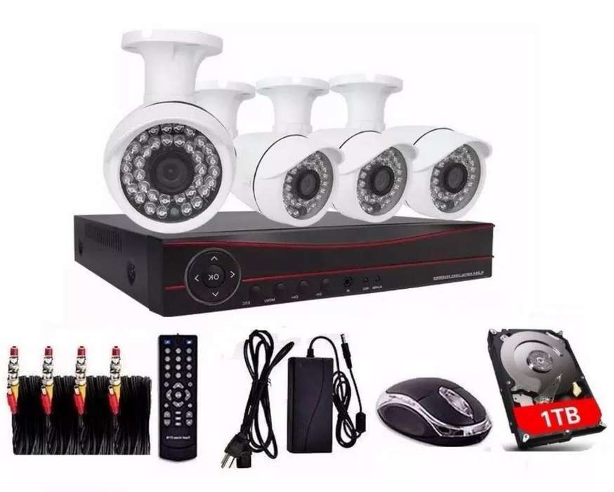 Kit de 4 Camaras Full Hd Seguridad Total