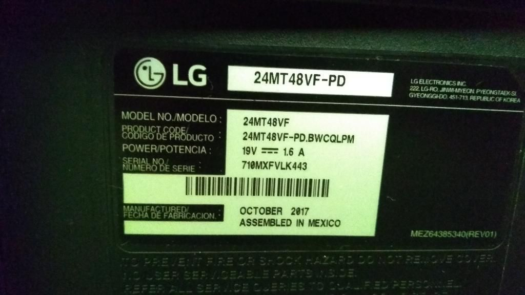 Descripción led Lg Tv24mt48vf