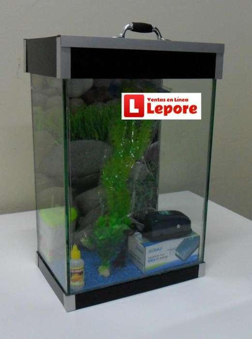 Acuario Pecera 24 litros Equipado Accesorios con Lampara LEDs Tapa/Base Acrilico DELIVERY