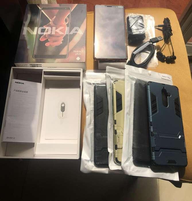 Nokia 7 Plus Super Resistente, 3 Camaras, Android One, 64GB, 4GB RAM, Todos los Accesorios