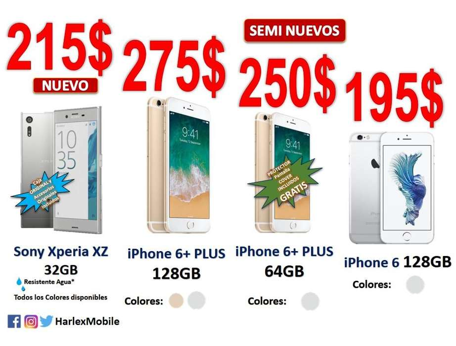 OFERTAS*Nuevo*Sony Xperia XZ 32GB Resistente Agua / Samsung Galaxy S9 / iPhone 6 PLUS 64/128GB LIBRES*LOCAL COMERCIAL