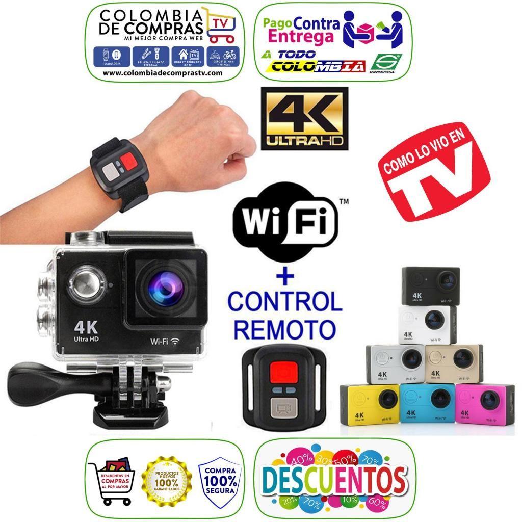 Cámara Video Acción Deportes 4k UHD Wifi Tipo GoPro Control, Fotos 16 Mpx, Sumergible 30 Mts, Nuevas, Garantizadas