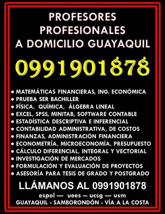 0991901878 PROFESOR OFRECE CLASES DE MATEMÁTICAS FINANCIERAS, ESTADÍSTICA, FÍSICA A DOMICILIO GUAYAQUIL