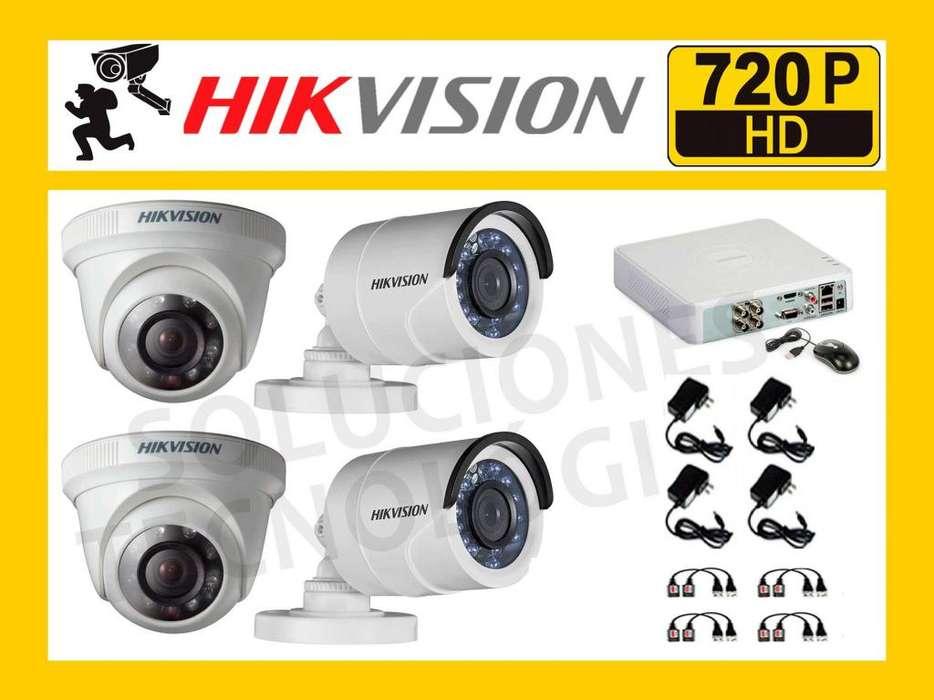 Pack de 4 Camaras de Seguridad HIKVISION HD 720P HIKVISION