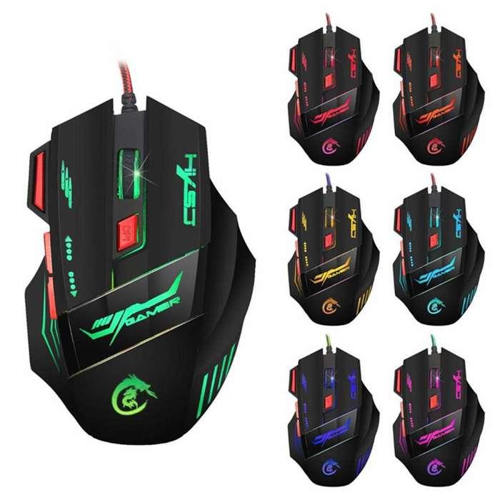 Mouse Gamer 7 Botones 7200 Dpi Cambia Colores Video Juegos