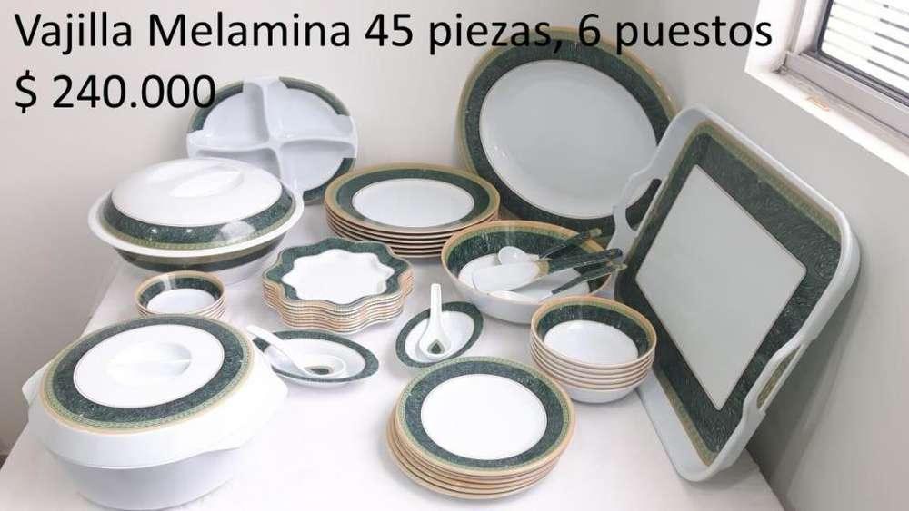 Vajilla en melanina 45 piezas, Marca Goltab