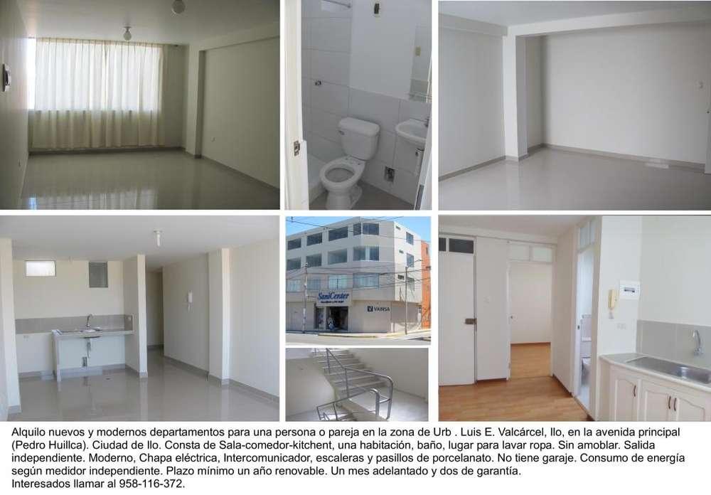 Alquilo nuevos departamentos de una habitación para persona o pareja.