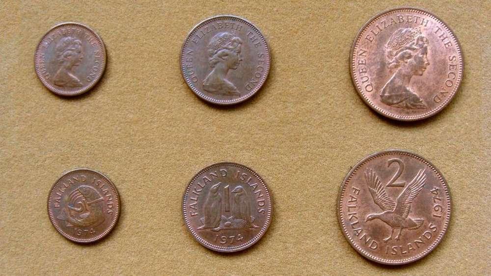 Monedas de Islas Malvinas Serie de ½, 1, 2, 5 y 10 peniques año 1974