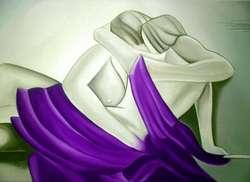 Cuadros grandes decorativos minimalistas abstractos texturados Amor Pareja 1,50mts x 55cm