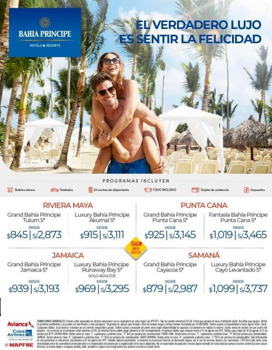 Viaje al Caribe a Bahia Principe oferta de viaje salida desde Lima