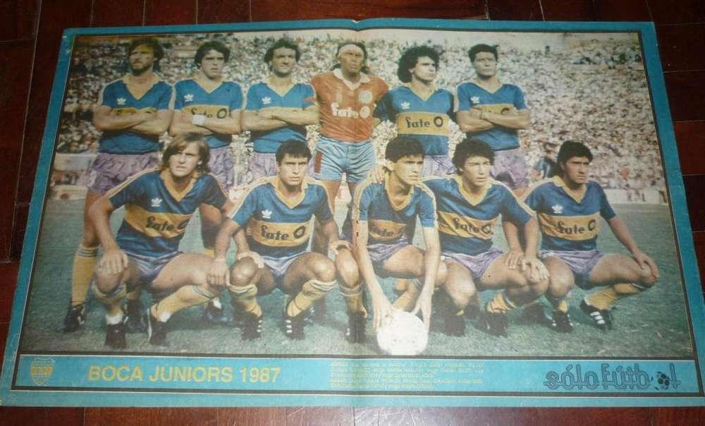 ANTIGUO POSTER DE REVISTA SOLO FUTBOL BOCA JUNIORS 1987 GATTI