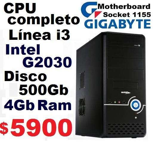 CPU Completo Línea i3 - Mother Gigabyte 1155 - Intel G2030 - 4Gb DDR3 - Gabinete Sentey - Ramos Mejía