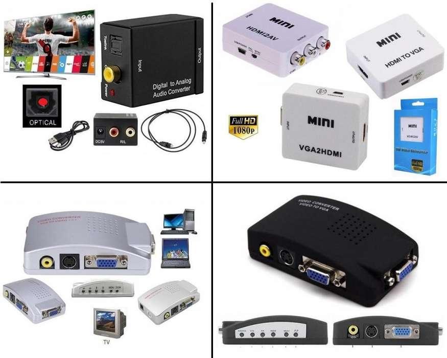 Convertidor Audio Video Optico Hdmi Vga Rca Bnc Display Port Usb Tipo C Pc Laptop