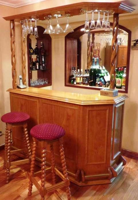 Bar Roble Macizo Con Alzada Impecable 2 Taburetes