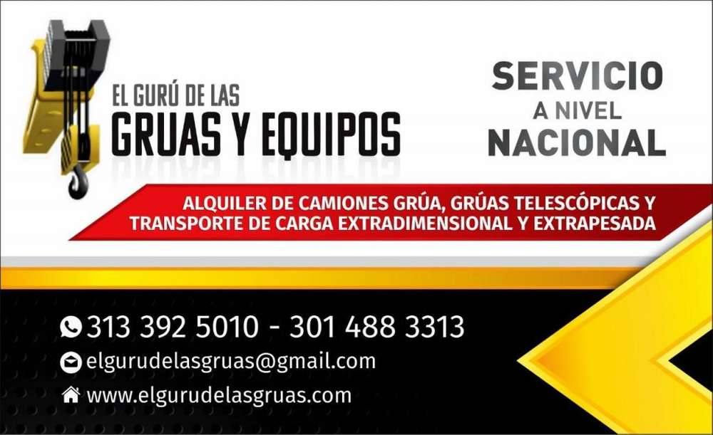 EL GURU DE LAS GRUAS Y EQUIPOS SAS ALQUILER DE GRÚAS HIDRÁULICAS PARA CONSTRUCCIÓN