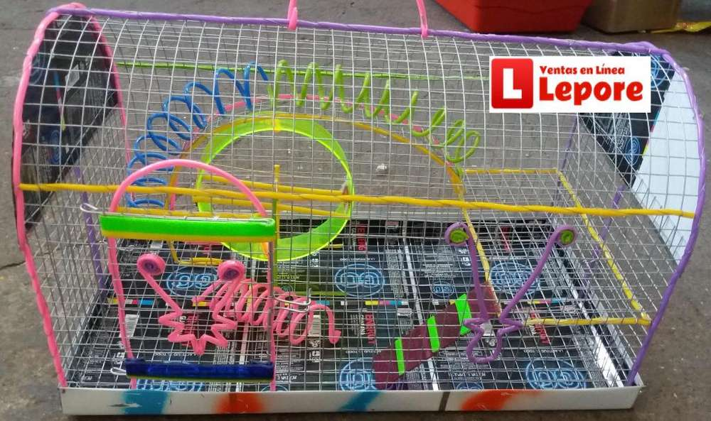 Jaula Hamstera con Entre Piso Rueda Ejercitadora bandeja viruta 45x24x27