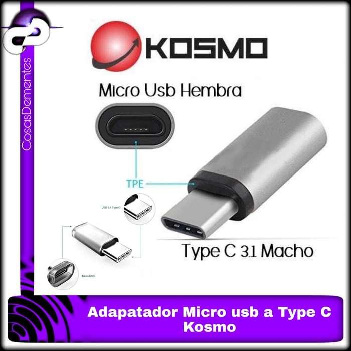 ADAPTADOR MICRO USB HEMBRA A USB 3.1 TIPO C MACHO KOSMO