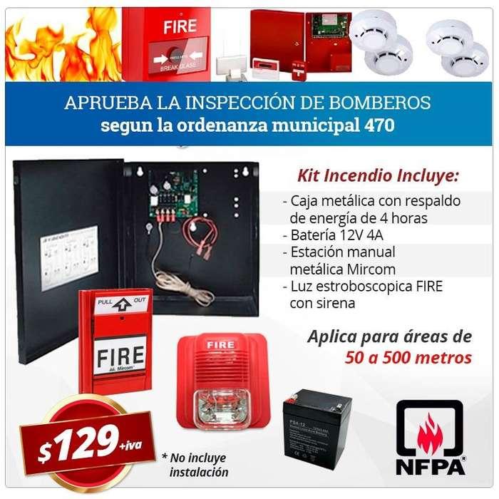 Kit alarma contra incendios luz estroboscopica LUAE inspeccion bomberos extintores pqs detector de humo estacion fire