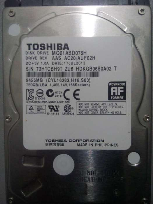 Disco duro de 750Gb para laptop