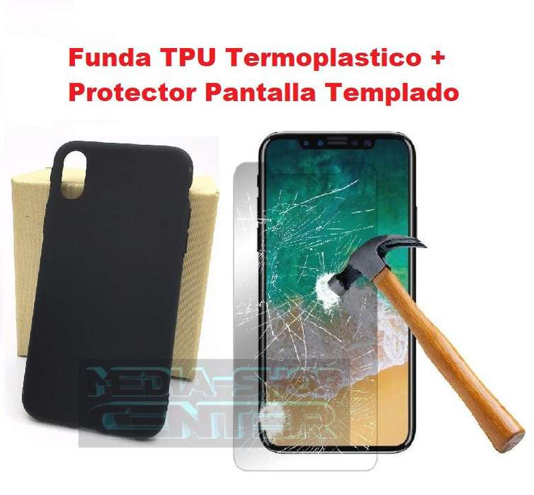 Combo Iphone X Funda TPU Protector Templado Glass Tribunales