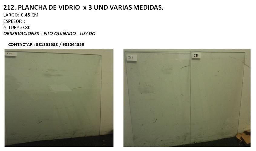 PLANCHA DE VIDRIO  x 3 UND VARIAS MEDIDAS.