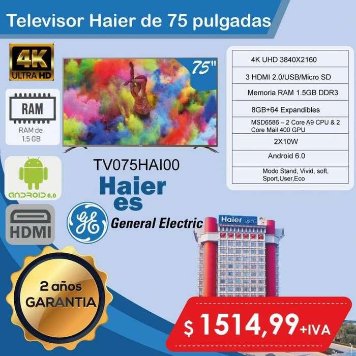 smart tv Haier 75 pulgadasHD smart tv importadores outlet tv 2 años general electric television hd 4k