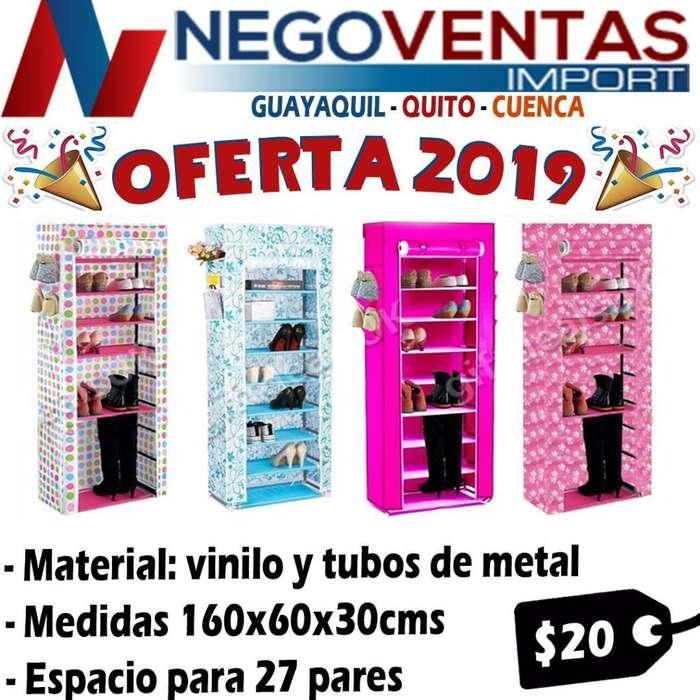 ZAPATERA DE 9 PISOS CON FORRO DIFERENTES COLORES MATERIAL VINILO Y TUBOS DE METAL