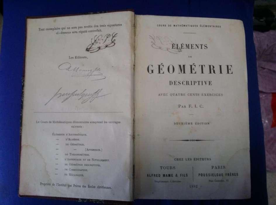 Antiguo LIbro Antiguo de Goemetria Descriptiva en Frances 1882
