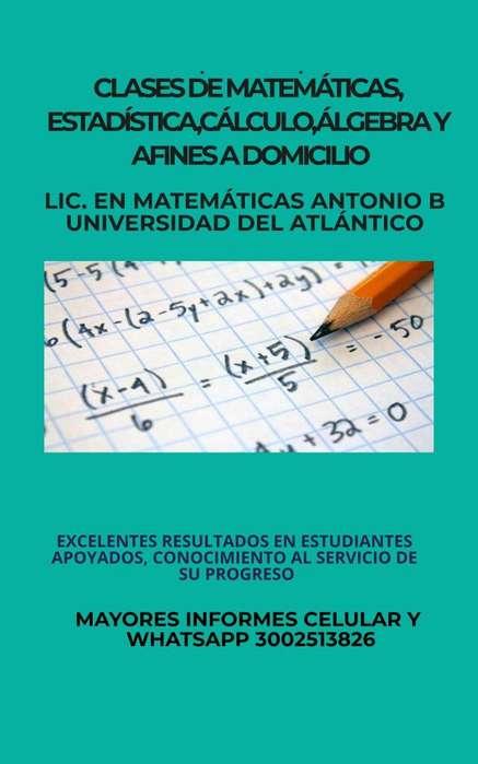CLASES PERSONALES DE MATEMÁTICAS,ESTADÍSTICA,GEOMETRÍA, Y AFINES A DOMICILIO. CEL Y WHATSAPP 3002513826