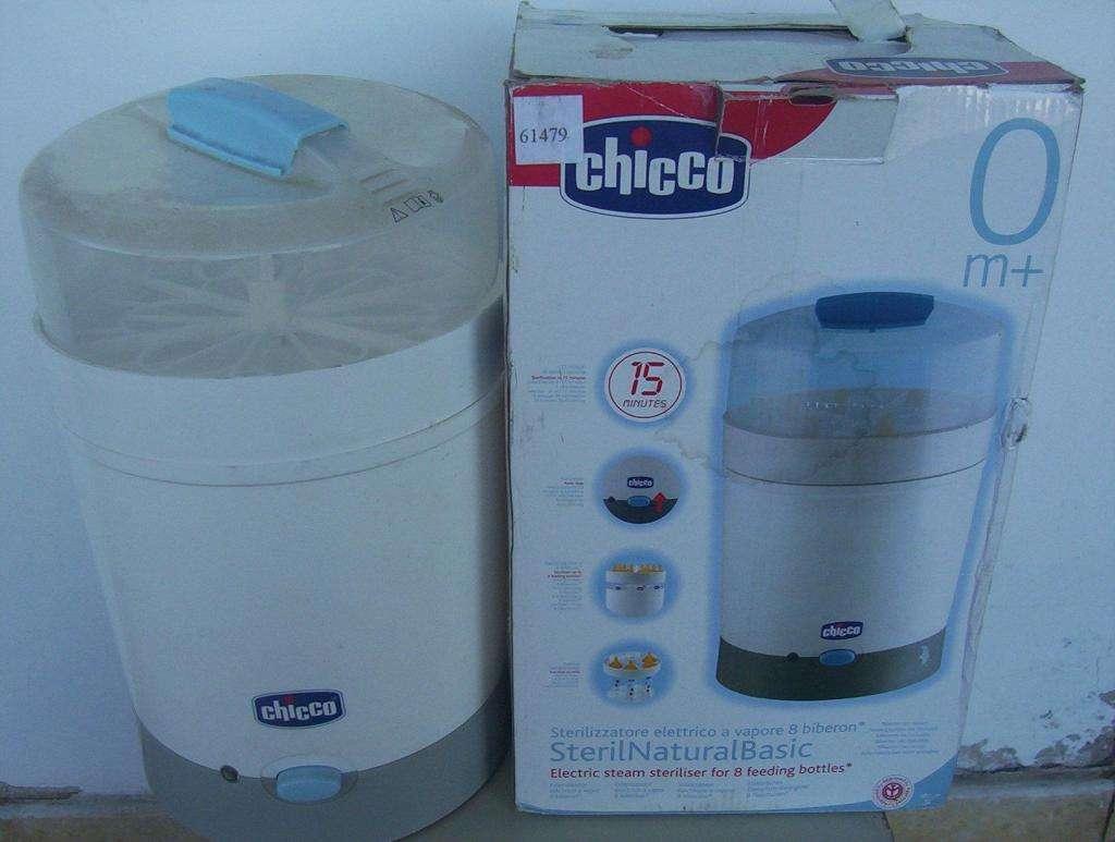 Esterilizador eléctrico Chicco a vapor hasta 8 mamaderas y chupetes nuevo caja manuales para bebes