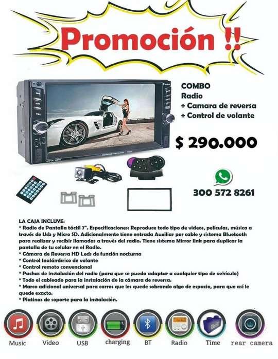 PROMO!! RADIOS DE PANTALLA TACTIL PARA CARRO CON CAMARA DE REVERSA Y CTR DE VOLANTE CEL3005728261