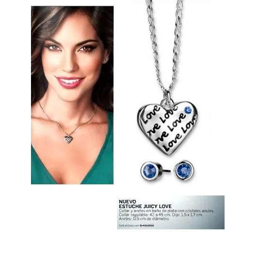 eeb83ee030ba LIQUIDACIÓN Collar Aretes Corazón Baño Plata Brillant Cristal Azul Esika