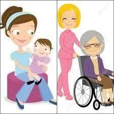 Cuidadora de adultos mayores y de niños