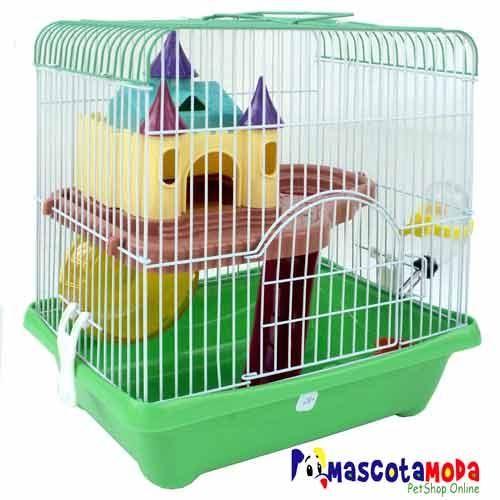 Jaula castillo con tobogan bebedero y rueda para hamster