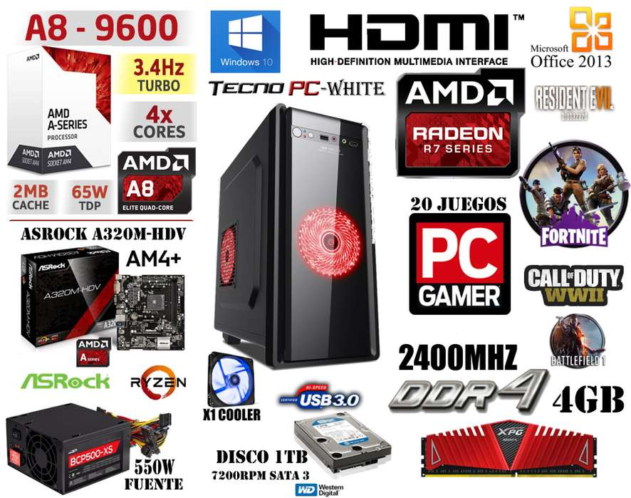 <strong>pc</strong> HOME // NUEVA // A8 9600 X4 DDR4 4GB 500GB R7 Series 15 juegos