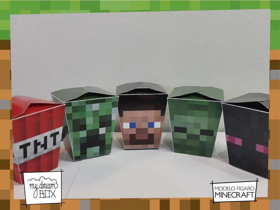Minecraft F1 Golosina Caja Evento Cumple Mesa Decoracion Steve Slim Creeper Enderman