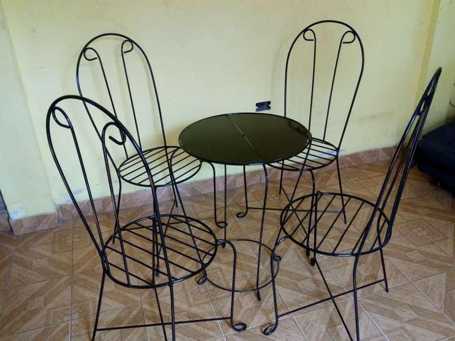 Juego de Jardin 4 <strong>silla</strong>s 1 Mesita