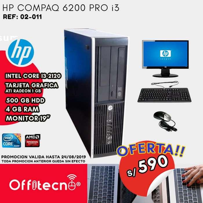 COMPUTADORA COMPLETA HP COMPAQ 6200 PRO I3 2120 , 4 GB RAM, 500 DISCO DURO