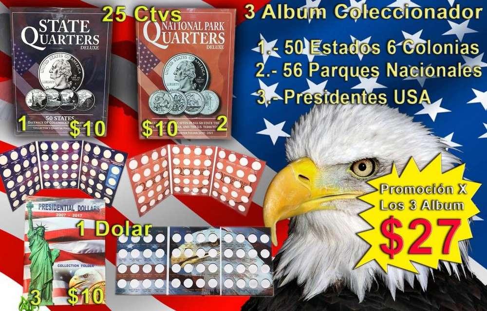 vendo 3 album colecciona para monedas de 25 cetavos de dolar cuartos de dolar de usa