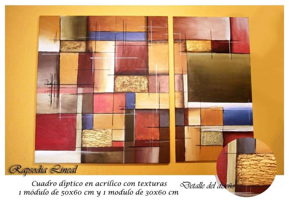 Cuadros dipticos tripticos modernos abstractos texturados cuadrados lineas minimalistas artesanales